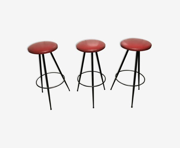 3 tabourets de bar vintage 1960