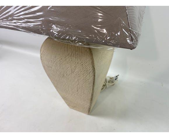 Lampe à poser pieds style terre cuite beige abat jour brun