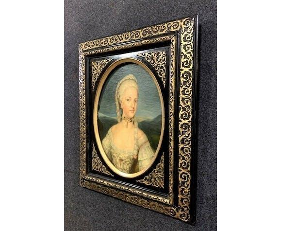 Huile sur toile marouflée sur carton Portrait d'une aristocrate École Française du XIXe