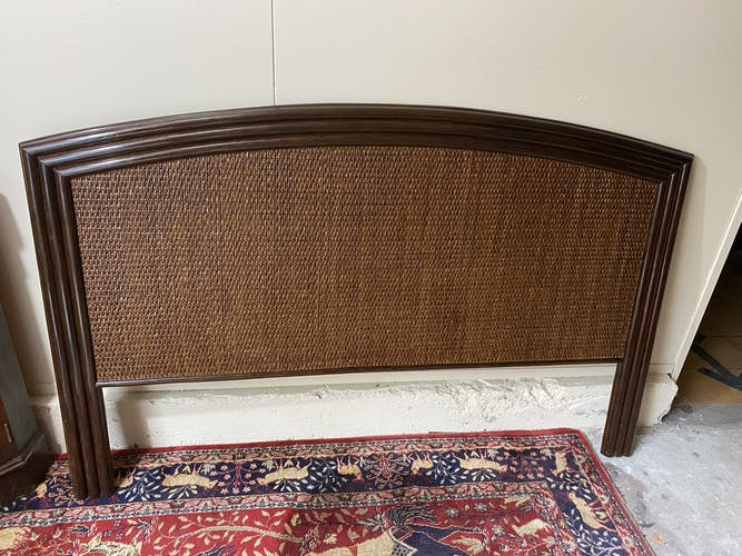 Tête de lit en bois et rotin vintage 2 personnes