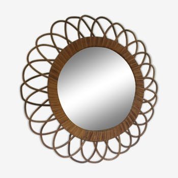 Rattan sun mirror 40cm diameter