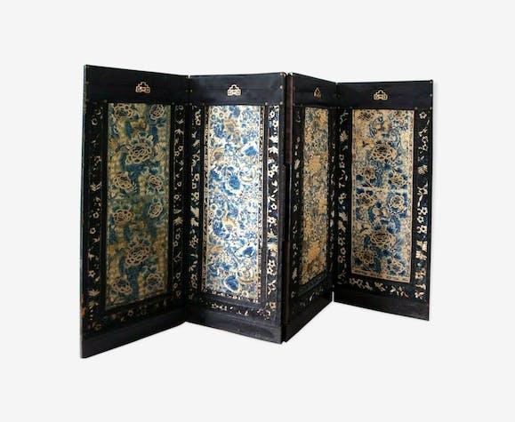 Paravent chinois soie textile broderie ancienne XlX