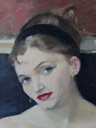 Portrait peinture sur bois années 50