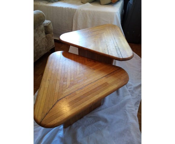 Table basse double en bois de pin mobilier de station de ski année 1960's
