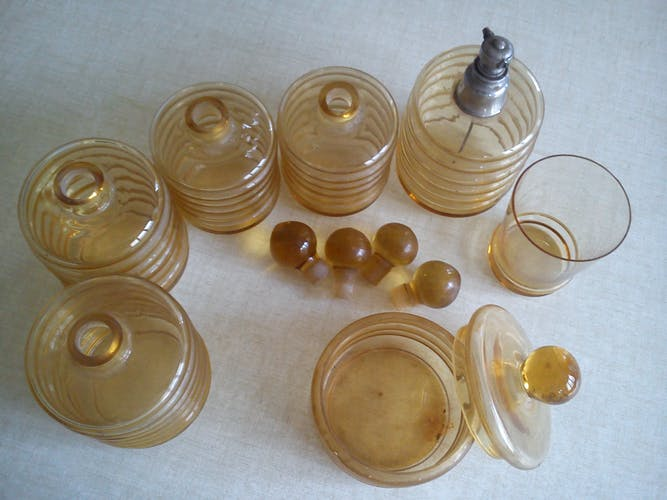 Set of bath salll bottles