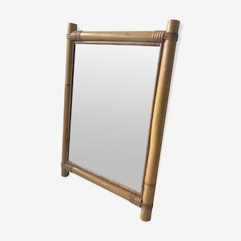 Miroir rectangulaire  en rotin vintage 31x46cm