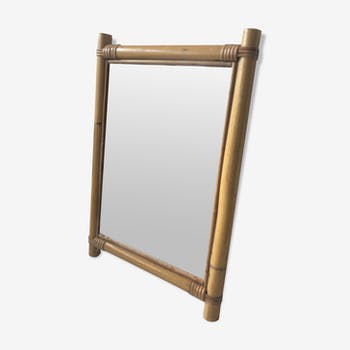 Rectangular mirror vintage rattan 31x46cm