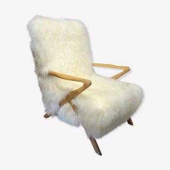 Italian Sheepskin Chair returned, 1960s