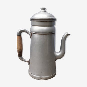 Aluminum and wood coffee pot