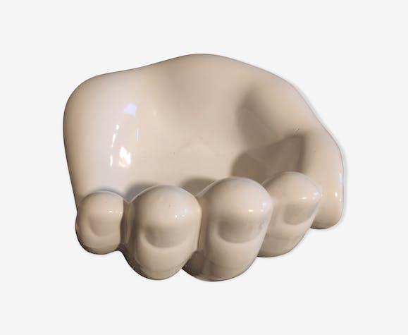 Vide-poche main en céramique blanche