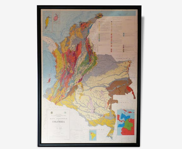 Carte Geologique Australie.Carte Geologique De Colombie Papier Multicolore Vintage 20643