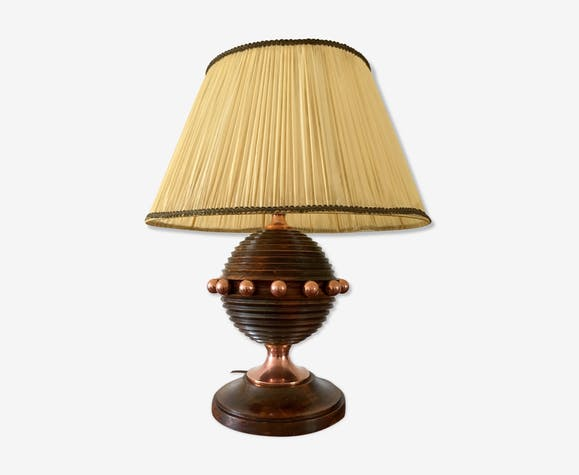 Vintage Art Deco wood and copper lamp