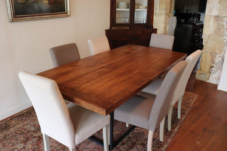 Rustic solid oak and steel table
