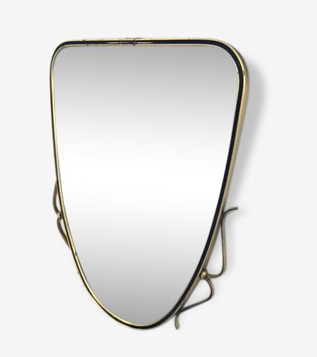 Miroir Année 50 miroir années 50 laiton volutes - laiton - doré - vintage - 60743