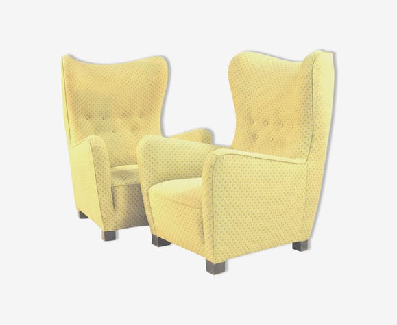 Pair Of Chairs By Fritz Hansen 1940 S Ear Fabric Yellow