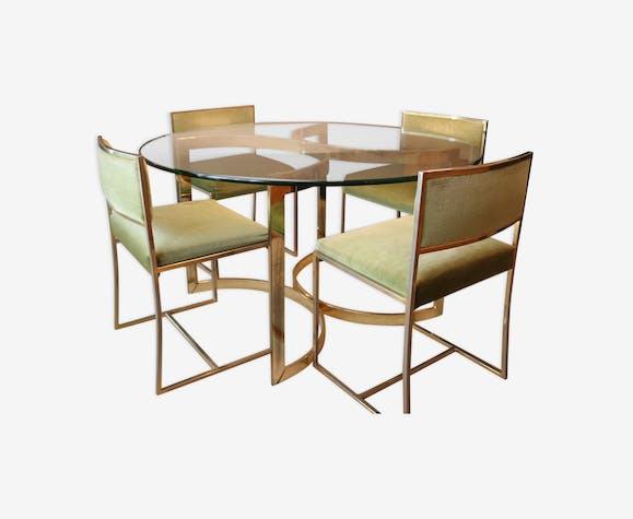 Table de salle à manger + 4 chaises Roche Bobois JC Mahey en verre ...