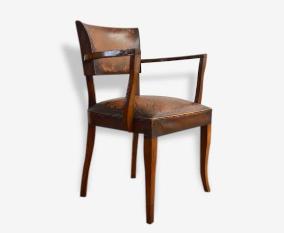 fauteuil bridge cuir ann es 50 cuir marron vintage 105544. Black Bedroom Furniture Sets. Home Design Ideas