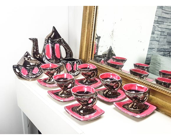 VALLAURIS pink copper coffee service