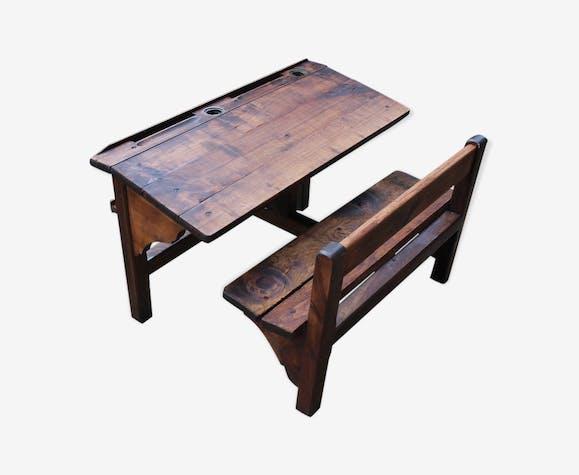 bureau double enfant bois mat riau marron. Black Bedroom Furniture Sets. Home Design Ideas