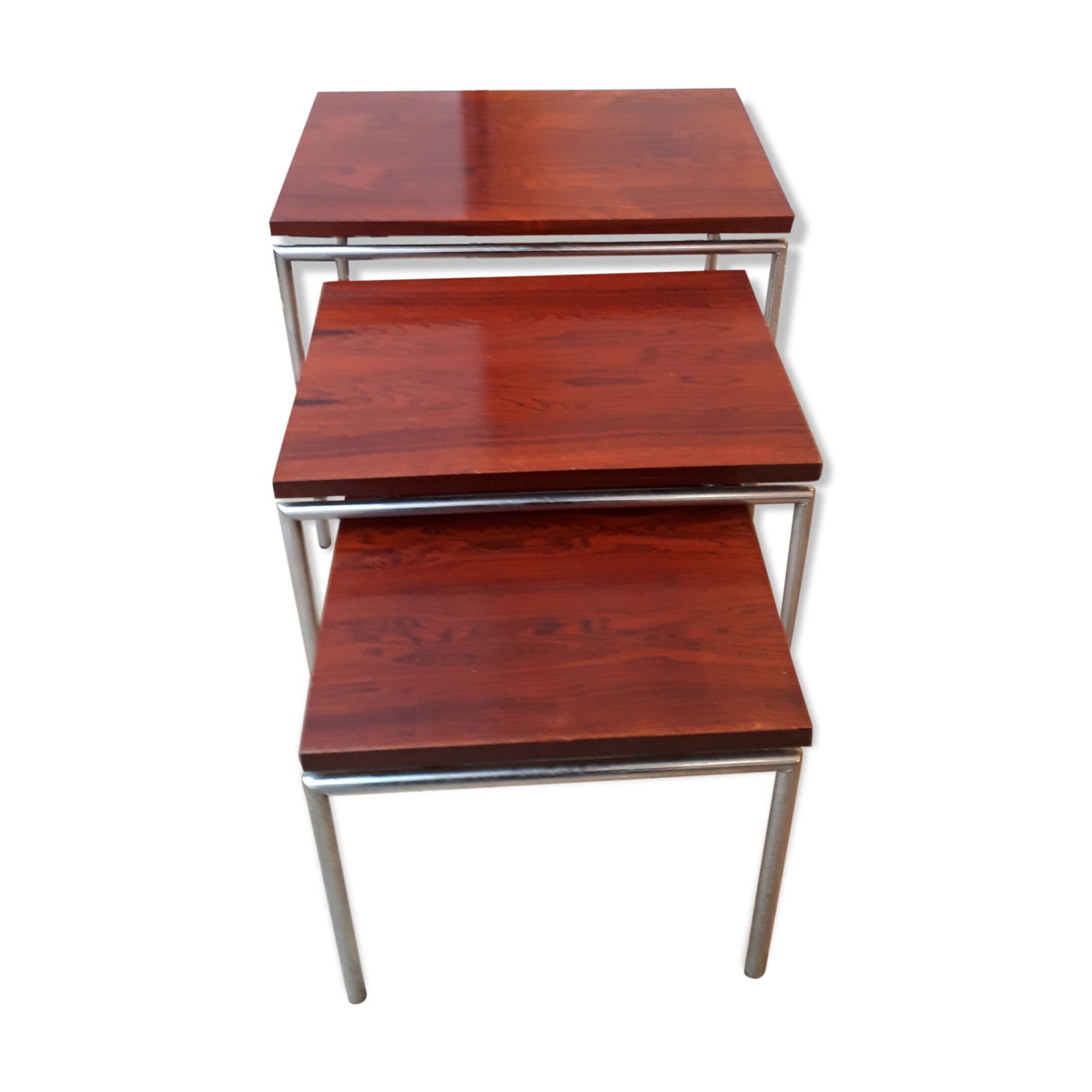 Scandinavian Rosewood And Aluminum Pull Out Tables