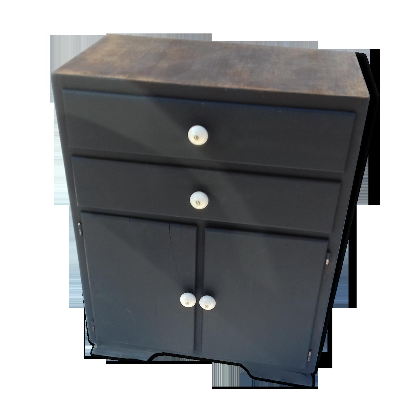 Meuble ancien cuisine salon ou bureau bois matériau noir