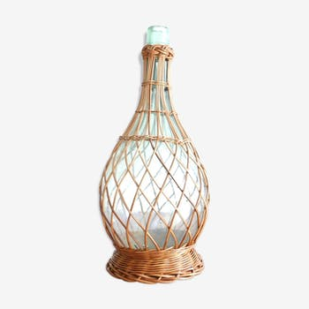 Demijohn glass covered with wicker, early 1960s