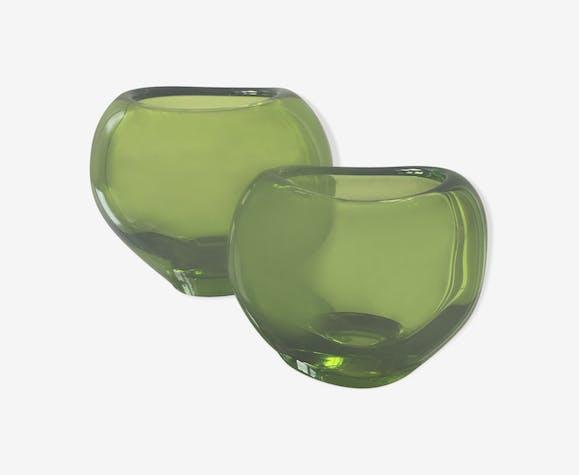Ensemble de 2 vases en cristal Holmegaard en forme de cœur par Per Lutken