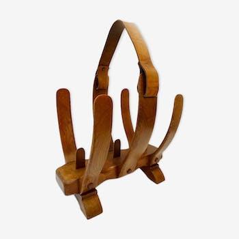 Porte revue bois courbé et cuir vintage