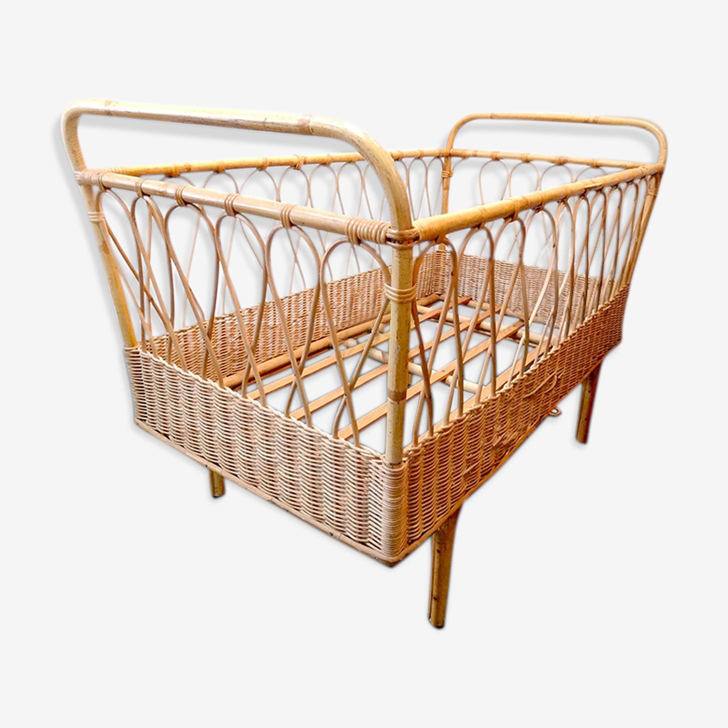 Berceau petit lit enfant design rotin vintage