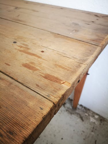 Old farm table in pitchpin