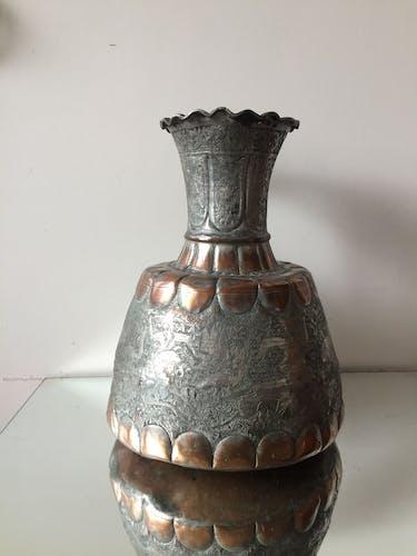 Bougeoir antique en cuivre d'art islamique