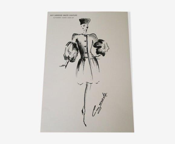 Jolie illustration de mode de presse par Guy Laroche- époque -  années 80