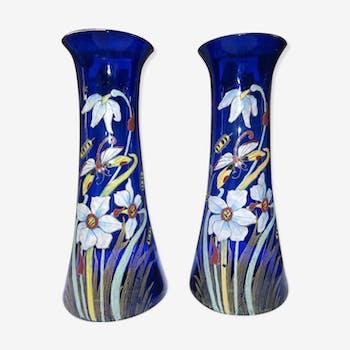 Grande Paire De Vases Bleus Legras Montjoye St Denis Emaillés Decor Libellule