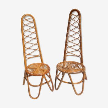 Set of two differents rattan garden chairs by Vittorio Bonacina, 1950s