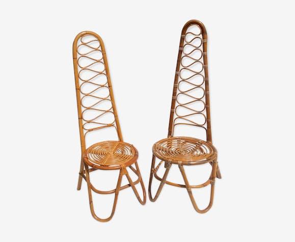 Lot de deux chaises en rotin par Vittorio Bonacina, années 1950 Ensemble de 2.