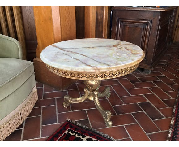 Marble coffee table - brass 1950