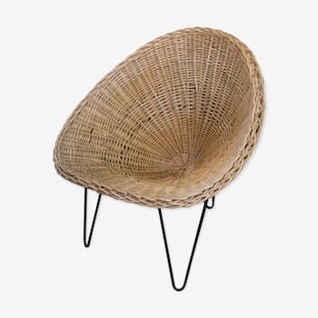 Chair wicker and iron, france, 1950