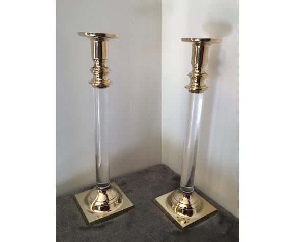 Paire de bougeoirs bronze et plexiglas