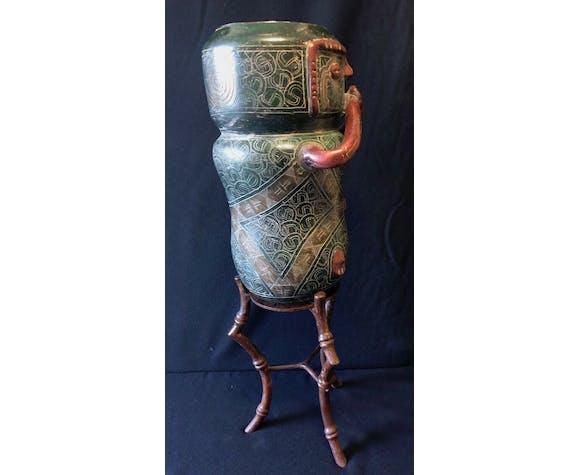 Vase anthropomorphe 68 cm céramique et fer forgé
