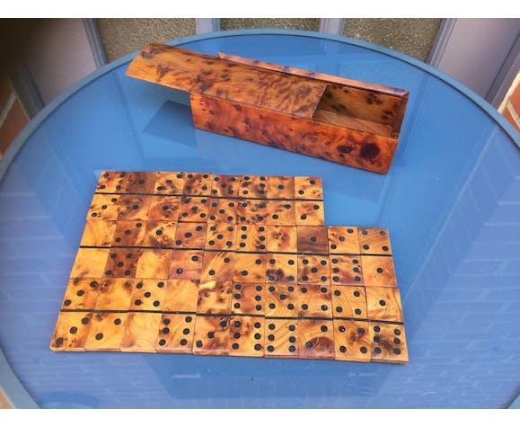 Coffret de domino en loupe de thuya