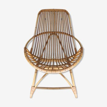Armchair in rattan and bamboo vintage