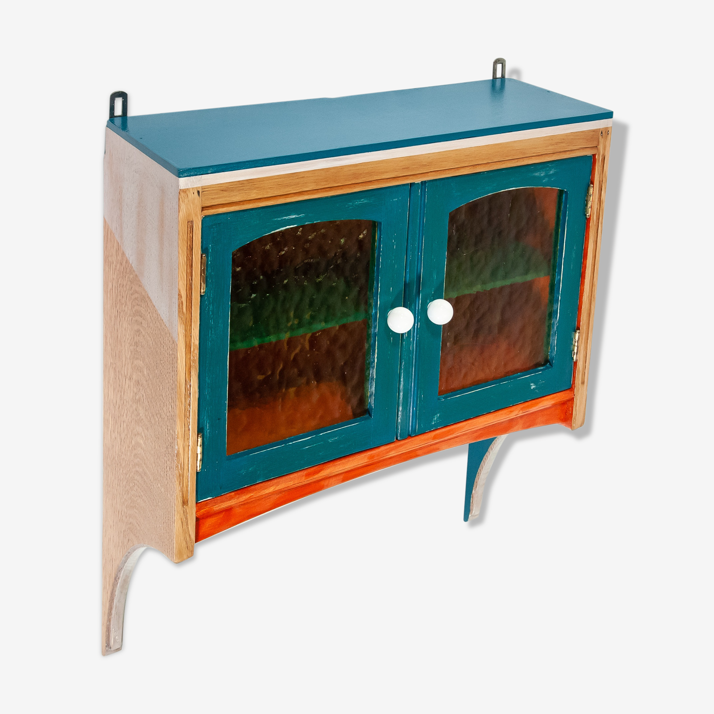 Wall shelf in solid oak blue, orange, white patinated with doors