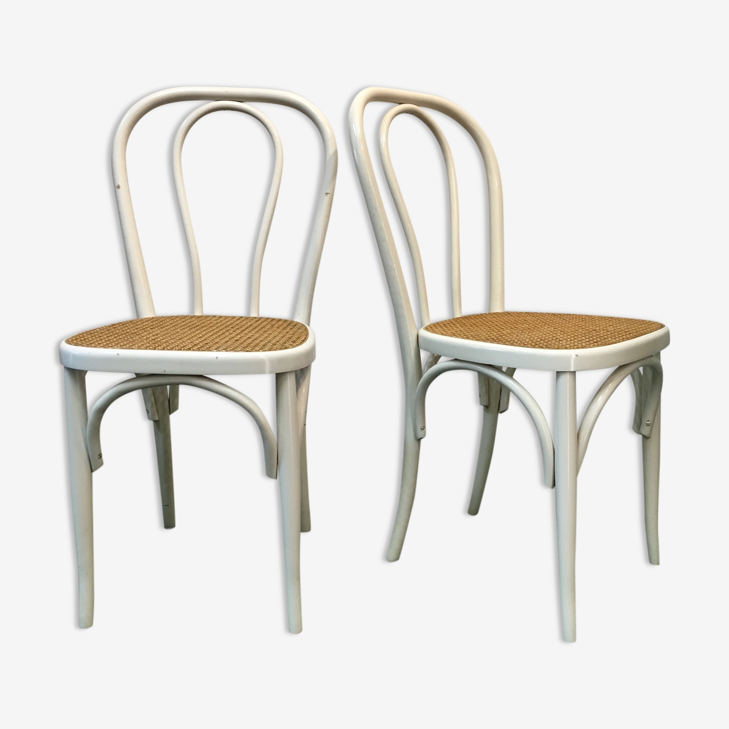 Pair of chairs bistro cane