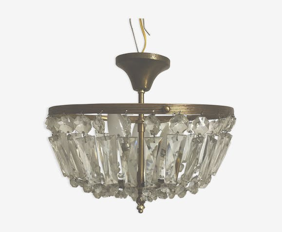 Crystal and brass basket chandelier