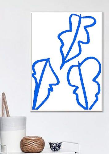 """Illustration """"Feuilles bleues"""""""