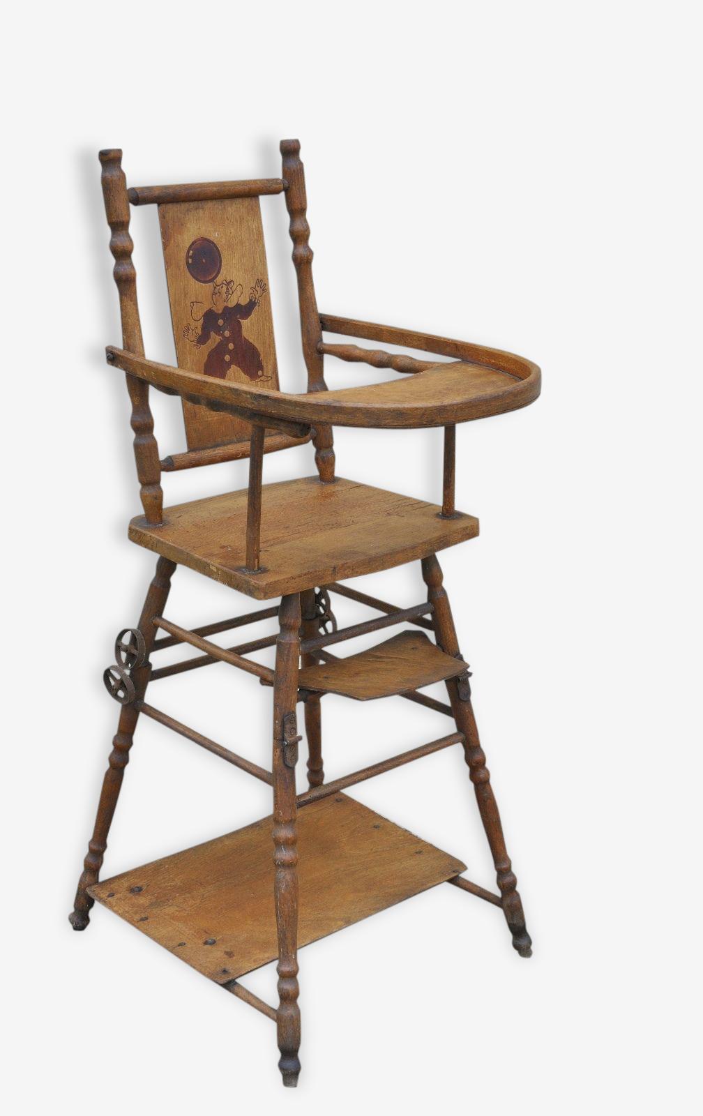 Chaise Haute Poupee Ancienne Jouet Bebe Enfant Clown Bois