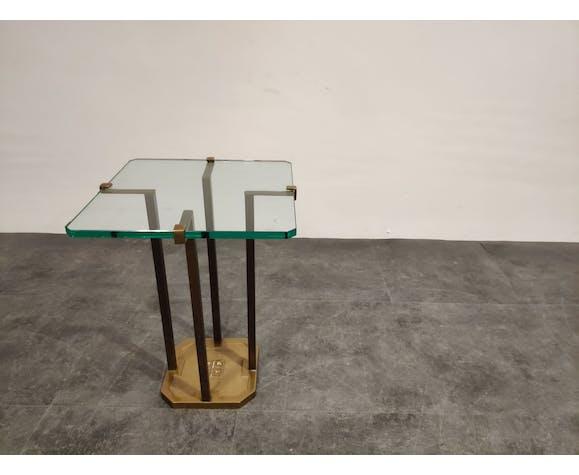 Table d'appoint Peter Ghyczy T18 en verre et laiton