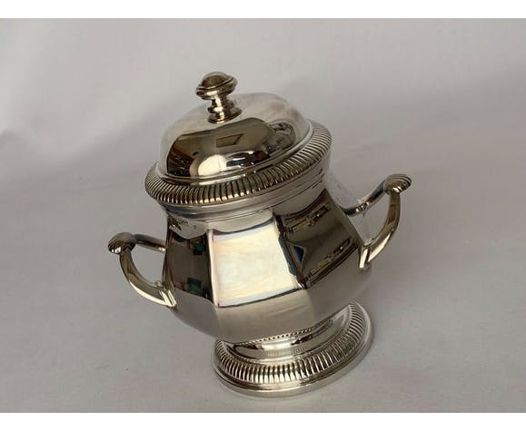 Service in silver metal 5 pieces of style Louis XV 1900 wooden sleeve