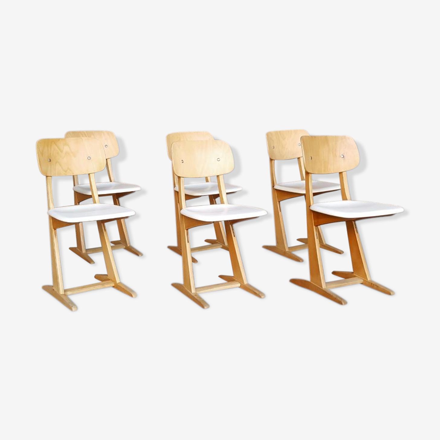 Set de 6 chaises vintage Casala, blanche et bois clair