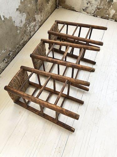 Set de 3 tabourets en paille hauts